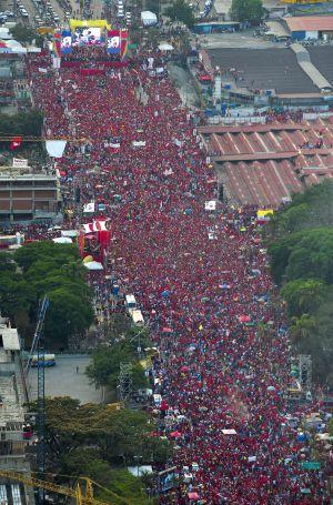 Vista aérea del mitin de Maduro.