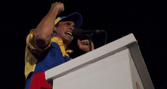 Capriles, en un mitin en Barquisimeto.