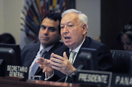 El ministro español de Asuntos Exteriores, José Manuel García-Margallo, durante su discurso en la OEA.