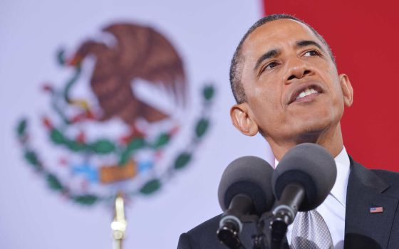 El presidente de EE UU, Barack Obama, durante su discurso en el Museo de Antropología de México.