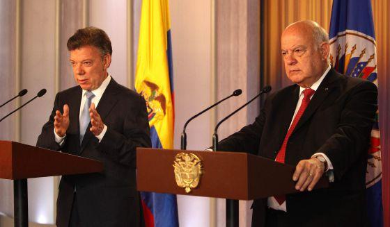 El presidente de Colombia, José Manuel Santos, y el secretario general de la OEA, José Miguel Insulza.