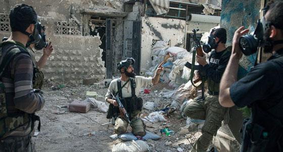 Combatientes de la brigada de Tahrir Al-Sham acaban de sufrir un ataque de gas tóxico el 13 de abril en Jobar, en Damasco.