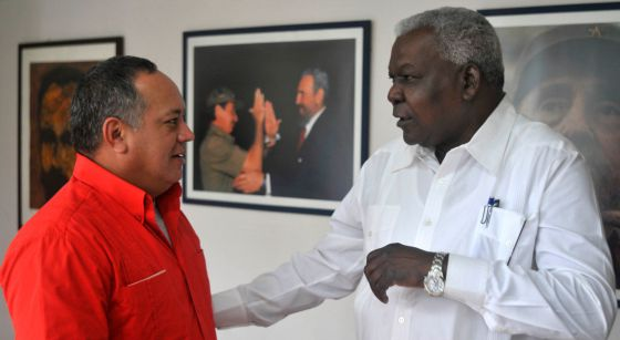 Los presidentes de las Asambleas Nacionales de Cuba y Venezuela, este viernes.