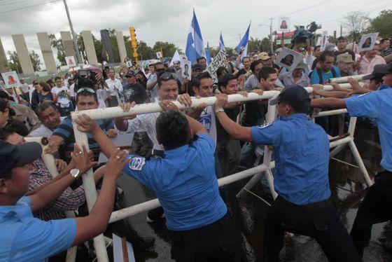 Protestas en Managua contra el proyecto de canal.