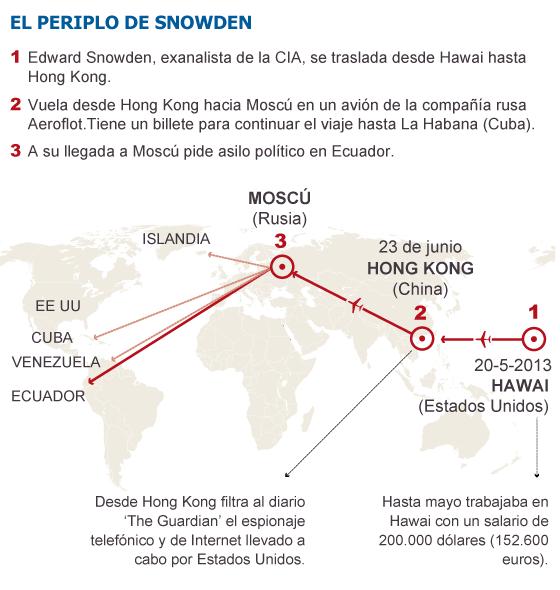 El filtrador Snowden solicita asilo en Ecuador desde Moscú