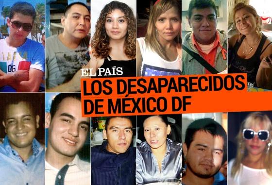 Retratos de los 12 jóvenes desparecidos en México DF.