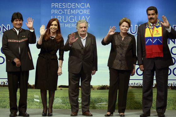 Los presidentes Morales, Fernández, Mujica, Rousseff y Maduro este viernes.rn