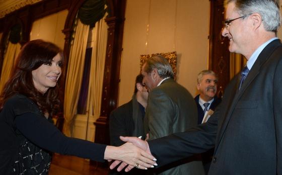 Cristina Fernández durante un acto con YPF y Chevron