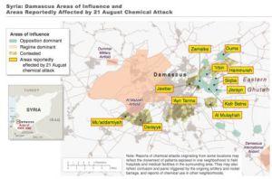 Mapa facilitado por el Gobierno de EE UU como prueba del ataque con armas químicas.