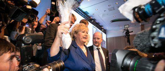 La líder de los conservadores noruegos, Erna Solberg, tras conocer los resultados electorales que le otorgan la victoria.