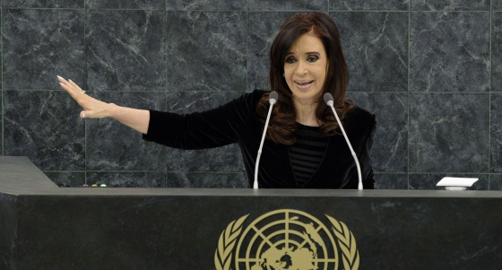 Cristina Fernández de Kirchner during her UN address on Tuesday night.
