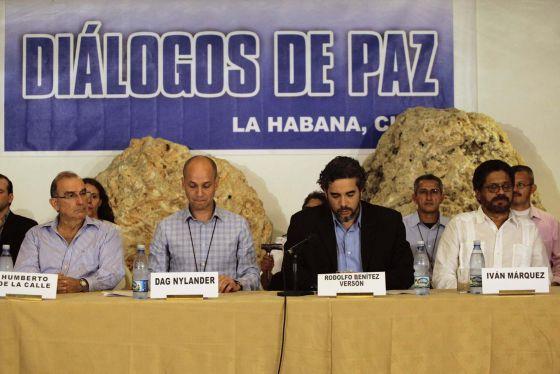 La mesa de negociación de las FARC con el Gobierno colombiano.