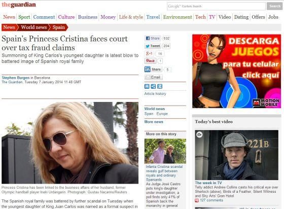 La imputación de la infanta Cristina en la prensa mundial