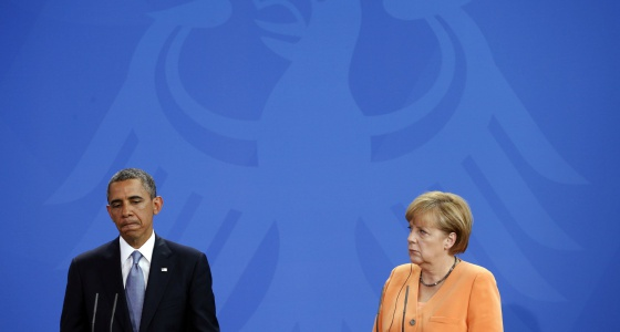 El presidente estadounidense Barack Obama junto a la canciller alemana Angela Merkel en junio de 2013 en Berlín.