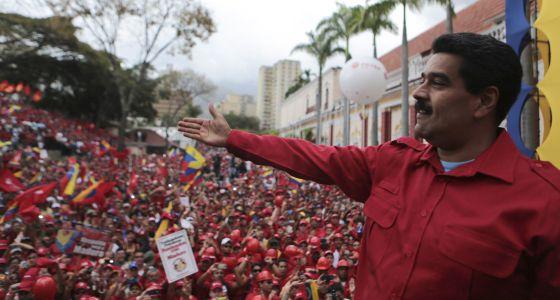 El presidente de Venezuela, Nicolás Maduro, este martes durante una manifestación en su apoyo.