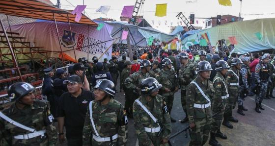 La pasarela que se desplomó en Oruro.