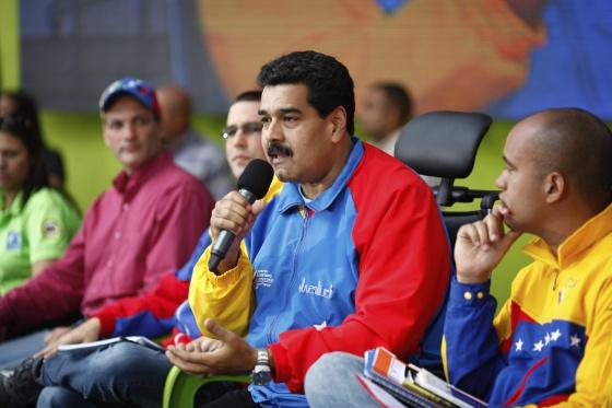 Nicolás Maduro durante una conferencia de paz
