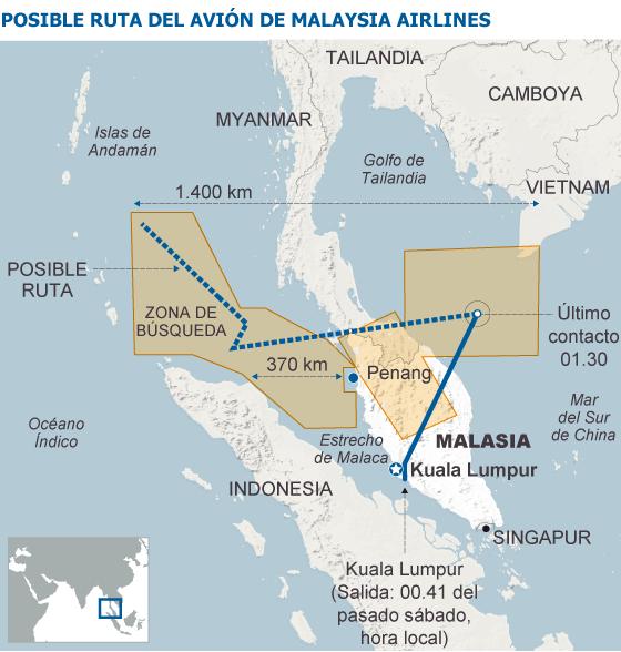 Malasia confirma que el avión fue desviado de su ruta de forma deliberada