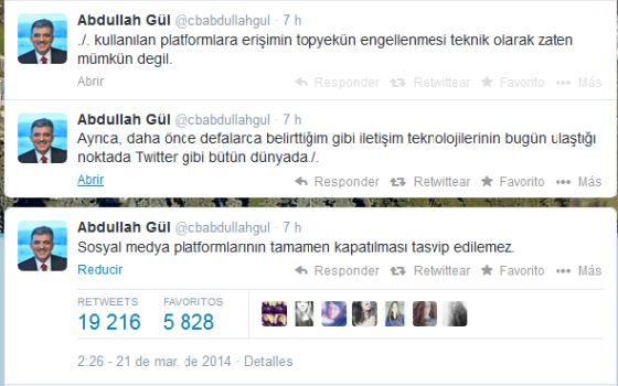 Tuits del presidente turco en los que rechaza el bloqueo de Twitter.