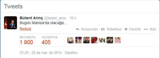 Tuit del vice primer ministro de Turquía en el que anuncia su agenda.