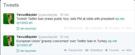 Perfil de Yavuz Baydar, columnista político, que critica el bloqueo de Twitter.