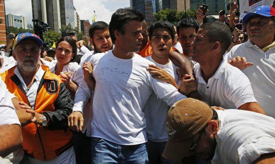 Leopoldo López, en una manifestación el 18 de febrero.