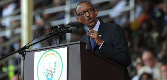 El presidente Paul Kagame durante su discurso este lunes en conmemoración del genocidio.