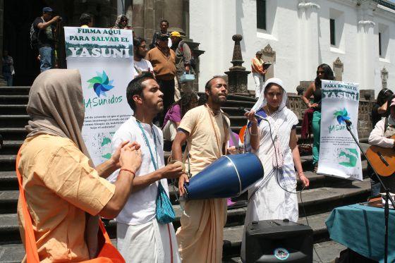 Una celebración ecuménica que hicieron los Yasunidos la semana pasada.
