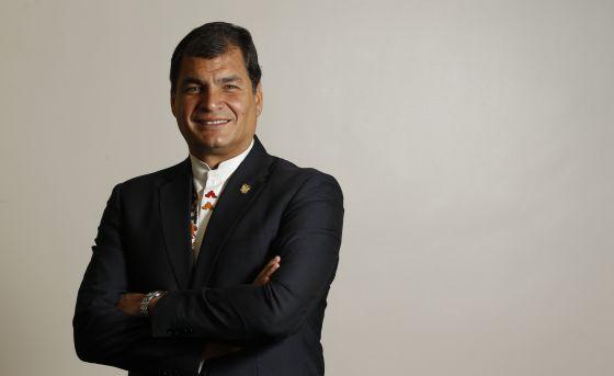 El presidente de Ecuador, Rafael Correa, tras la entrevista en Madrid el pasado jueves.