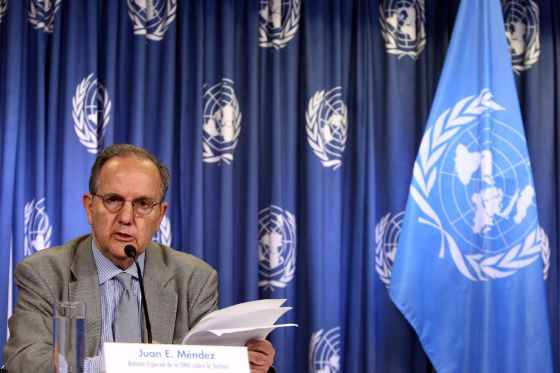 El relator especial de la ONU, Juan Méndez en la Ciudad de México.