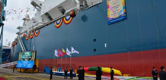 El buque 'Independence', que será clave en la seguridad energética de Lituania, en los astilleros de Corea del Sur donde fue construido.