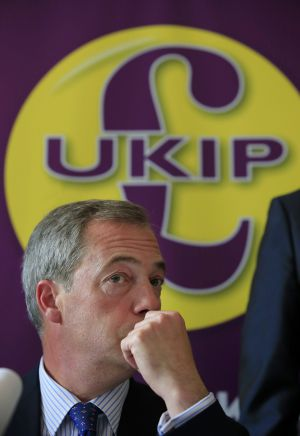 Farage en una conferencia de prensa, el 28 de abril en Portsmouth, Inglaterra.