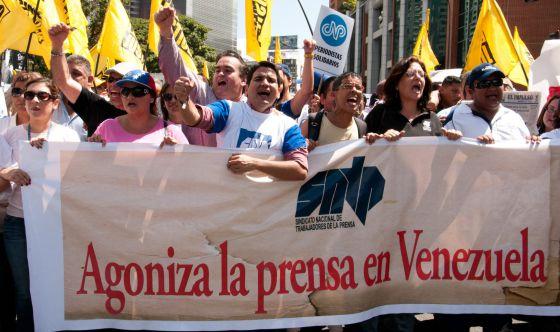 Protesta de periodistas en Caracas el 11 de febrero.