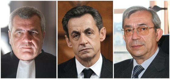 Imágenes del expresidente Sarkozy, el abogado Thierry Herzogy el juez Gilbert Azibert.