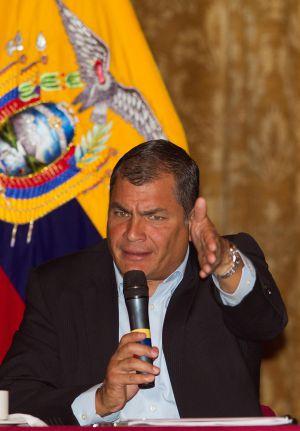 Rafael Correa en un encuentro con la prensa el mes pasado.
