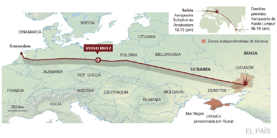Fuente: Flightradar24.com, Malaysia Airlines y agencias.