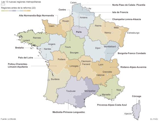 El nuevo mapa regional de Francia