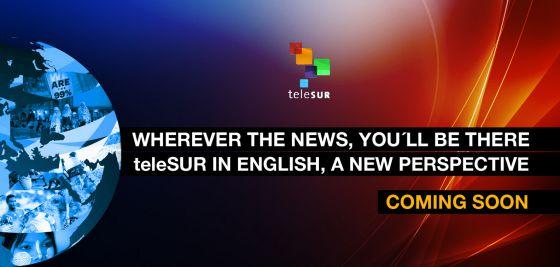 Captura de la página web de Telesur en inglés.