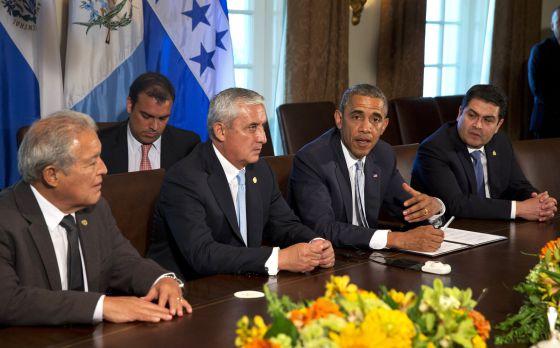 Los presidentes de El Salvador,de Guatemala, EE UU, y Honduras