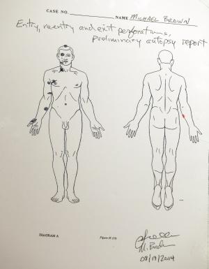 Un diagrama, con resultados preliminares de la segunda autopsia, que muestra los impactos de bala en el cuerpo de Brown