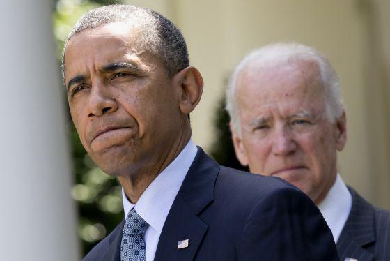 El presidente Obama, acompañado del vicepresidente Joe Biden.