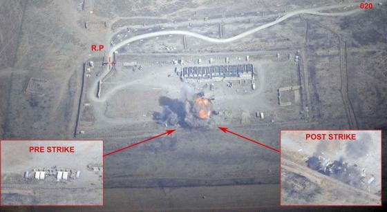 Imagen difundida por el Ministerio de Defensa francés del antes y después del ataque.