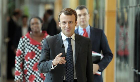 El ministro de Economía francés, Emmanuel Macron, el miércoles antes de su comparecencia