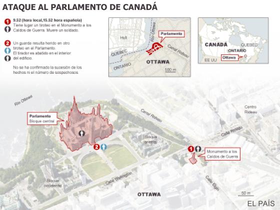 Conmoción en Canadá por el asalto al Parlamento y la muerte de un militar