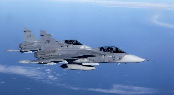 Caza sueco, en unas maniobras de la OTAN.