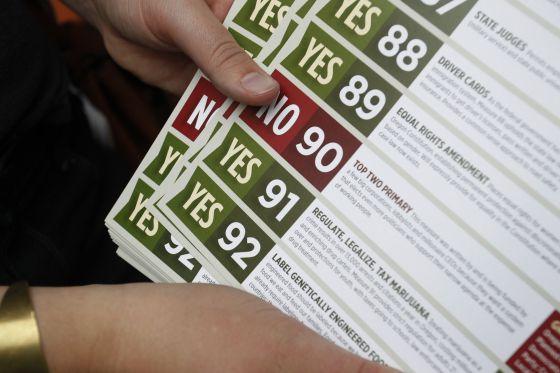 Folletos para pedir el voto en las distintas iniciativas de Oregón.