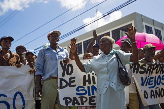 Haitianos en República Dominicana protestan en Santo Domingo.