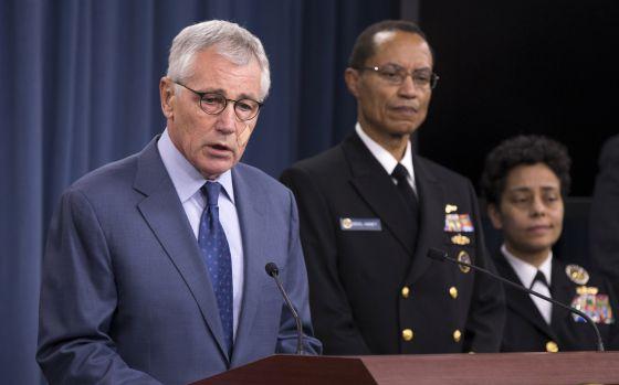 El secretario de Defensa, Chuck Hagel, durante su comparecencia.