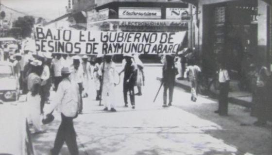 Protesta en Iguala en 1966 contra el gobernador de Guerrero Raymundo Abarca.