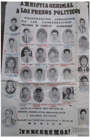 Un cartel de 1978 que exige la presentación de desaparecidos durante la 'guerra sucia' en México.